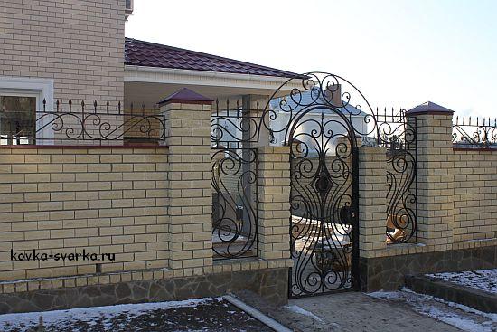 Забор из элементов ковки